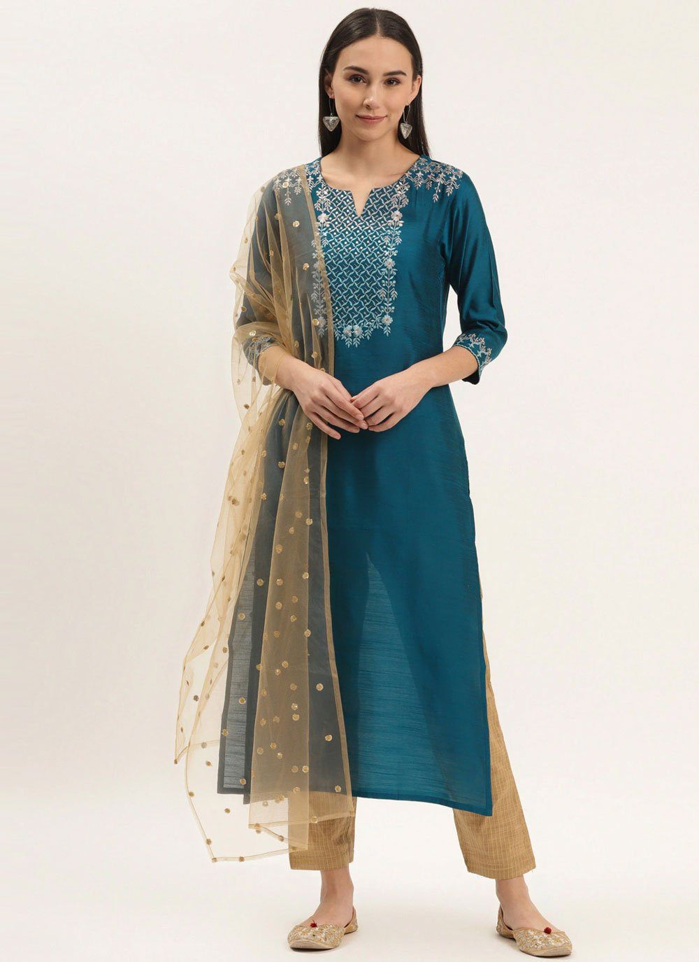 Silk Teal Readymade Suit