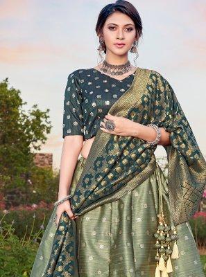 Silk Teal Weaving Lehenga Choli