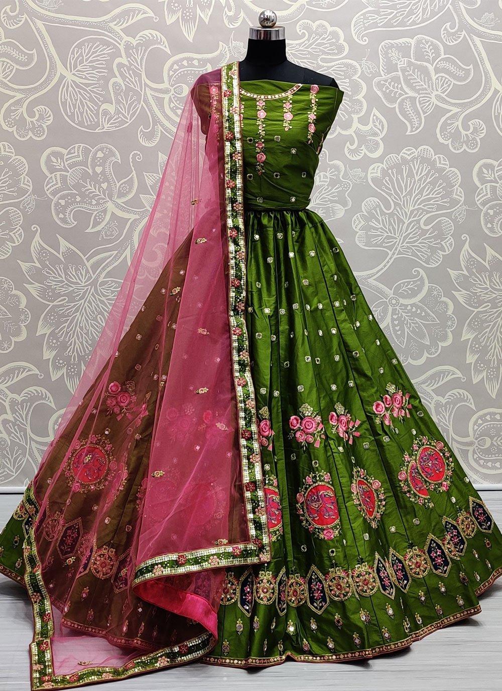 Silk Thread Green Lehenga Choli