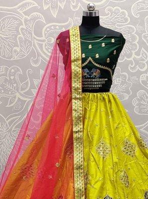 Silk Thread Lehenga Choli in Yellow