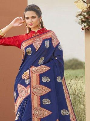 Silk Traditional Designer Saree in Blue