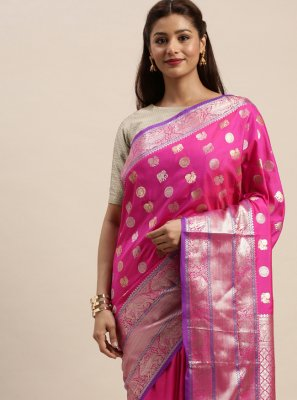 Silk Traditional Designer Saree in Hot Pink