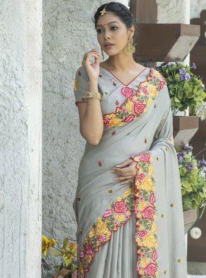 Silk Traditional Saree in Grey