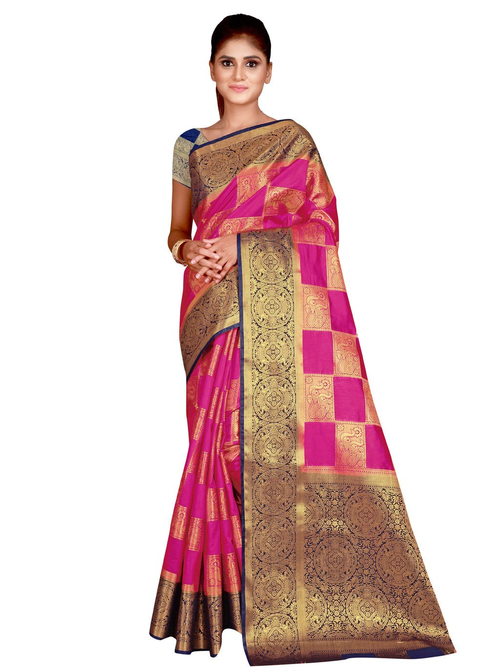 Silk Traditional Saree in Hot Pink