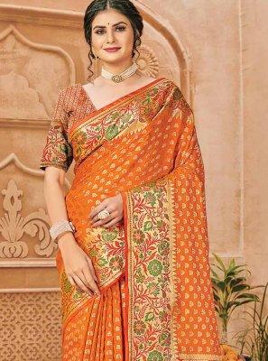 Silk Trendy Saree in Orange