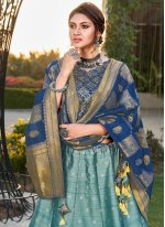 Silk Weaving Aqua Blue A Line Lehenga Choli