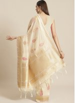 Silk Weaving Beige Designer Traditional Saree