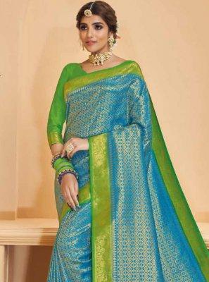 Silk Weaving Blue Designer Saree