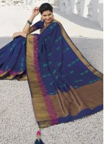 Silk Weaving Blue Designer Traditional Saree
