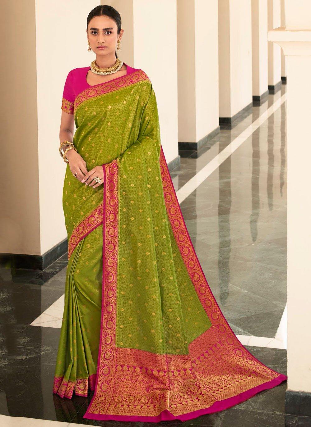 Silk Weaving Bollywood Saree in Green