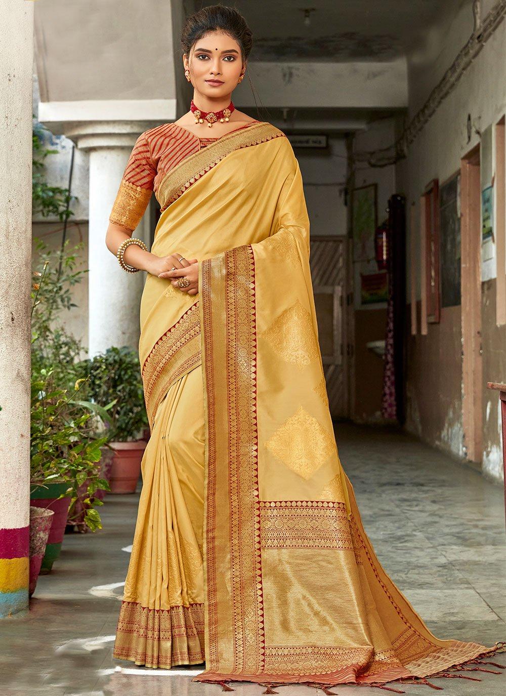 Silk Weaving Cream Traditional Saree
