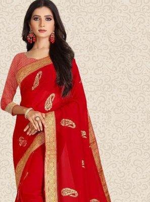 Silk Weaving Designer Saree in Red