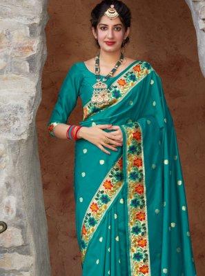 Silk Weaving Designer Traditional Saree in Rama