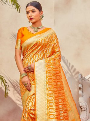 Silk Weaving Designer Traditional Saree in Yellow