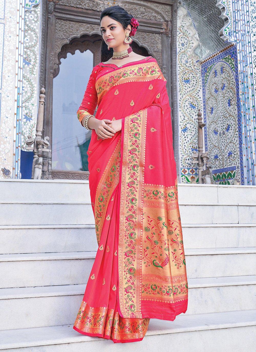 Silk Weaving Fuchsia Silk Saree