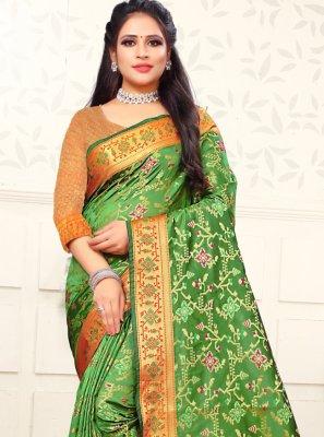 Silk Weaving Green Bollywood Saree