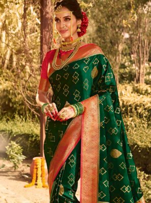 Silk Weaving Green Contemporary Saree