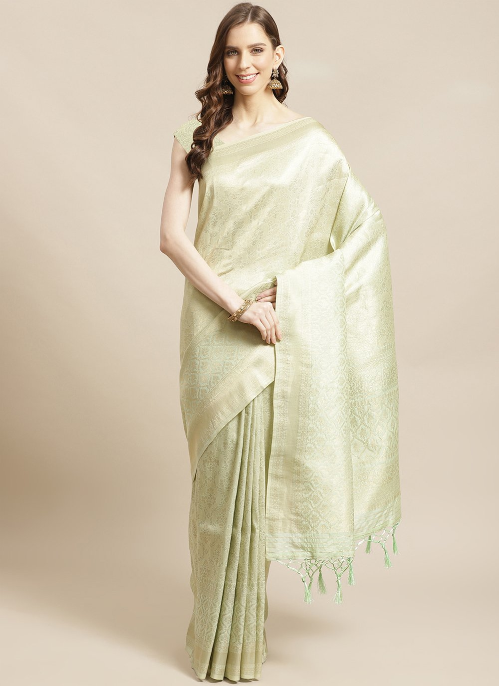 Silk Weaving Green Designer Traditional Saree