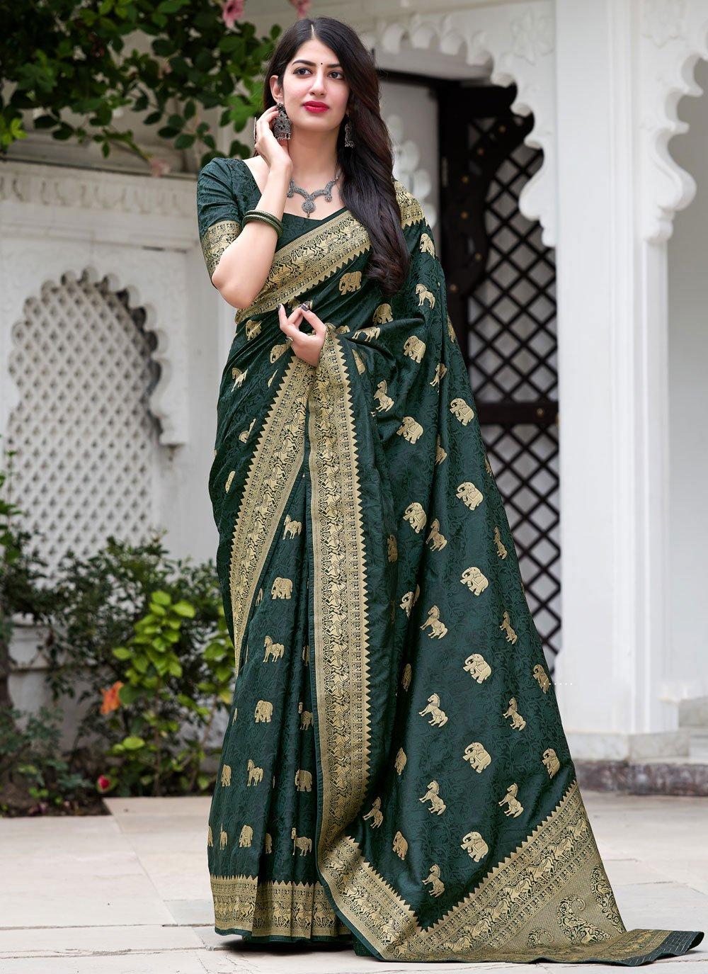 Silk Weaving Green Designer Traditional Saree