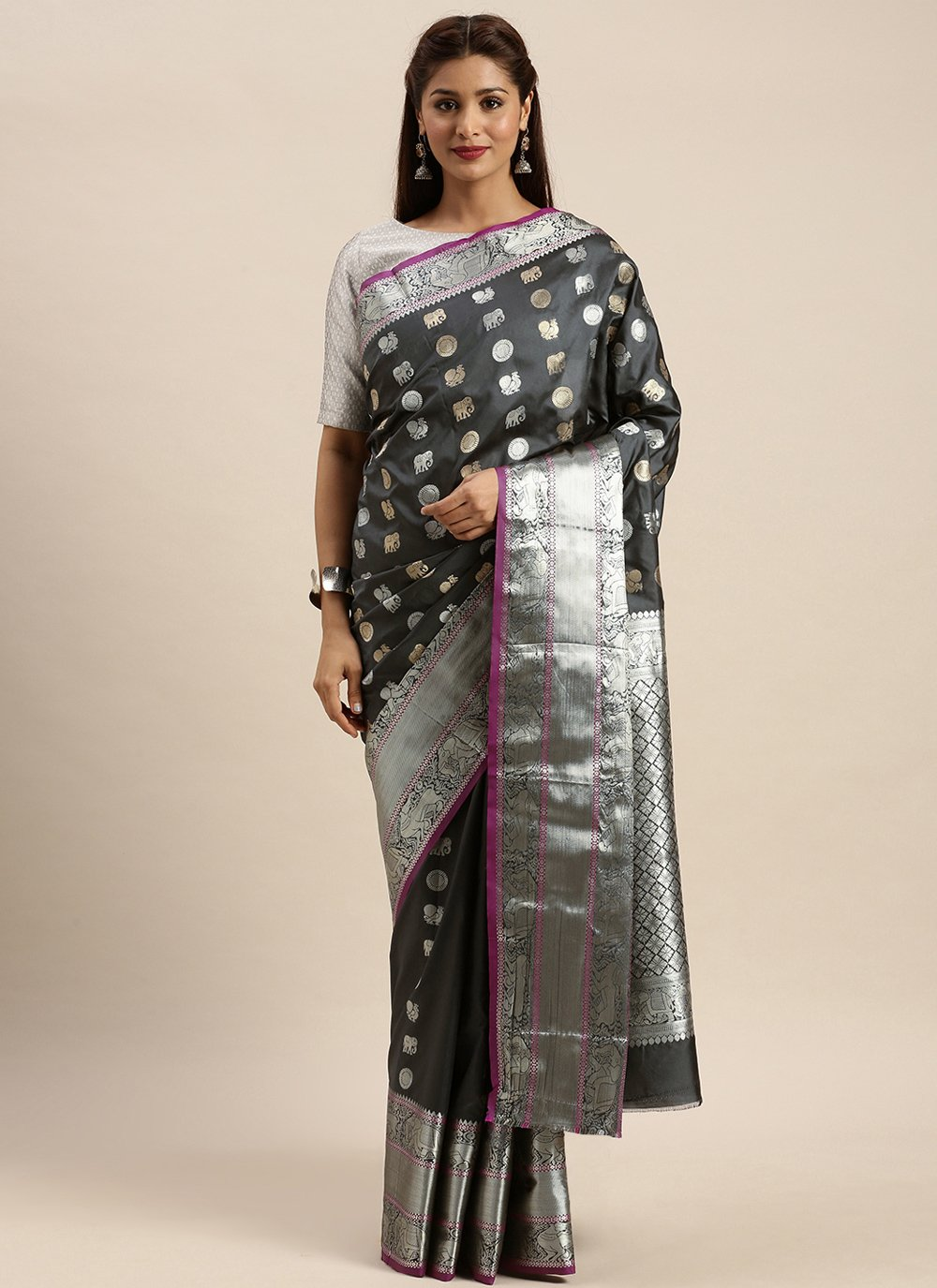 Silk Weaving Grey Traditional Designer Saree