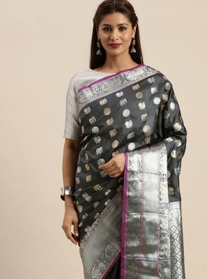 Silk Weaving Grey Traditional Designer Saree