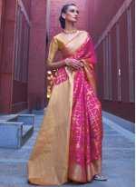 Silk Weaving Hot Pink Traditional Saree