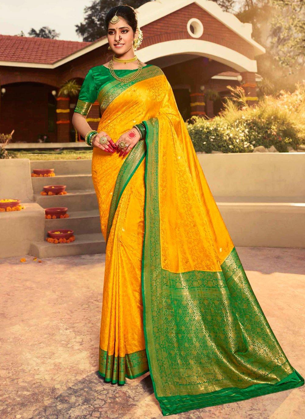 Silk Weaving Mustard Trendy Saree
