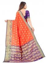 Silk Weaving Orange Designer Traditional Saree