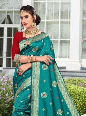 Silk Weaving Rama Designer Traditional Saree