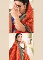 Silk Weaving Red Designer Saree