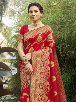 Silk Weaving Red Designer Traditional Saree