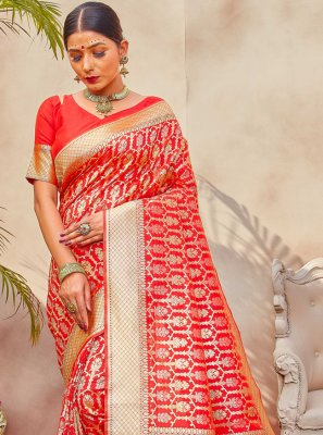Silk Weaving Red Traditional Designer Saree