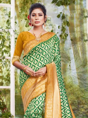 Silk Weaving Sea Green Traditional Saree