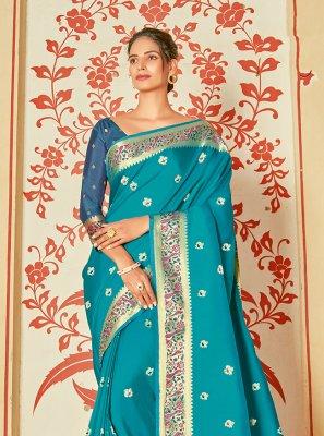 Silk Weaving Teal Designer Saree