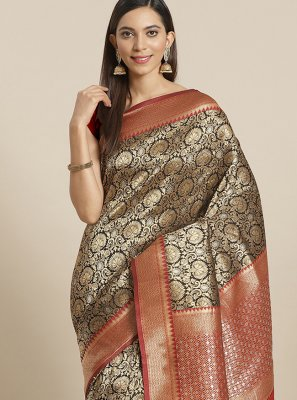 Silk Weaving Traditional Designer Saree in Black and Red