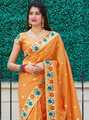 Silk Weaving Traditional Designer Saree in Orange