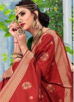 Silk Weaving Traditional Designer Saree in Red