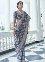 Silk Weaving Traditional Saree in Blue