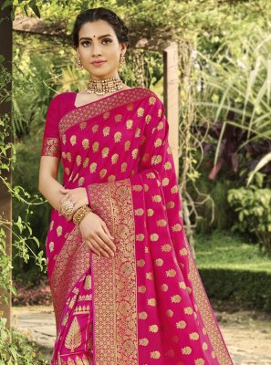 Silk Weaving Traditional Saree in Hot Pink