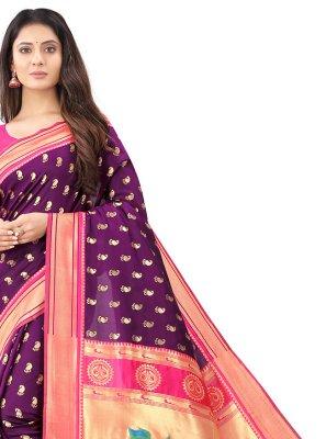 Silk Weaving Wine Traditional Designer Saree