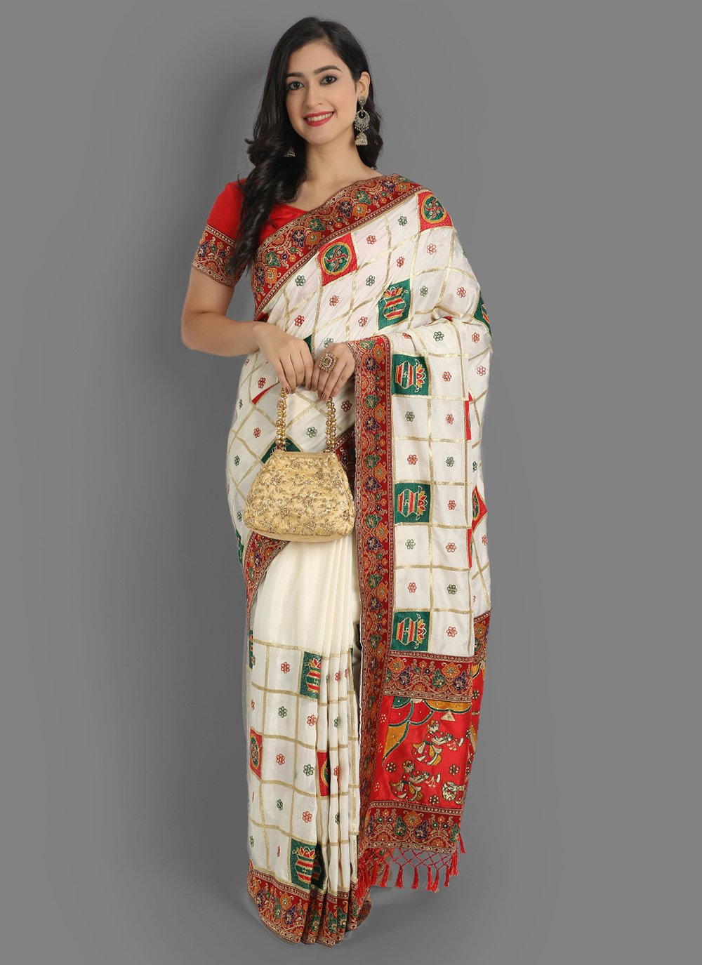 Silk White Traditional Saree