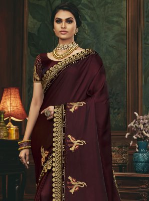 Silk Wine Designer Traditional Saree