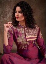Silk Wine Embroidered Readymade Anarkali Salwar Suit