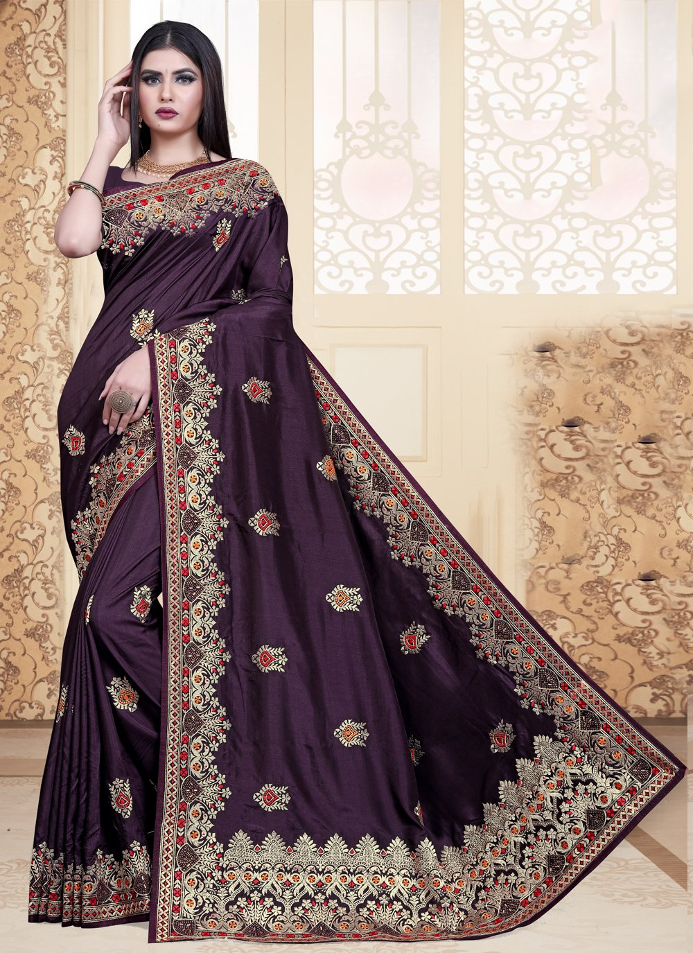 Silk Wine Embroidered Traditional Saree