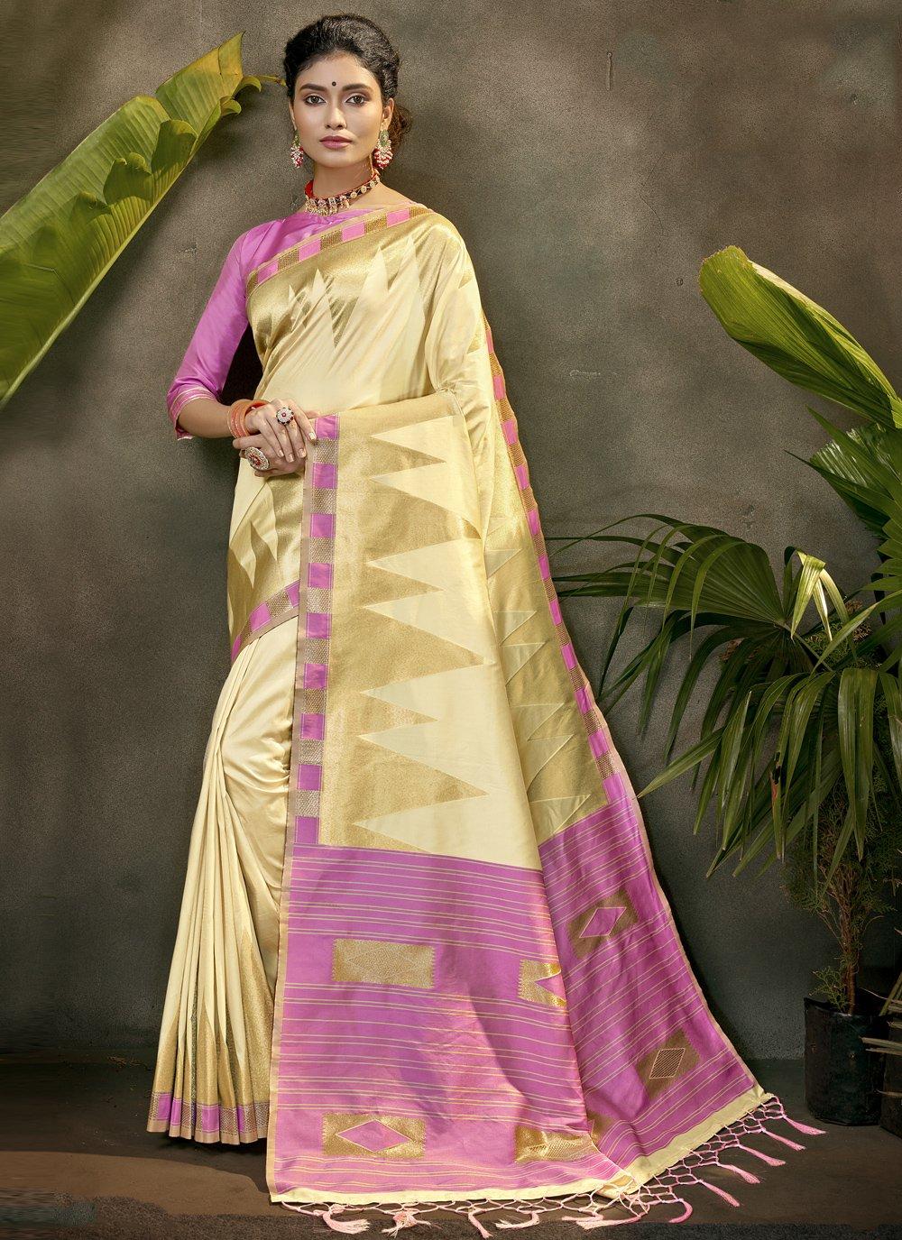 Silk Woven Designer Traditional Saree in Cream