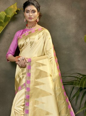 Silk Woven Designer Traditional Saree in Cream