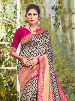 Silk Woven Designer Traditional Saree in Navy Blue