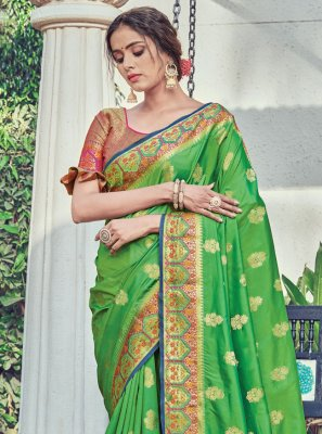 Silk Woven Green Traditional Designer Saree