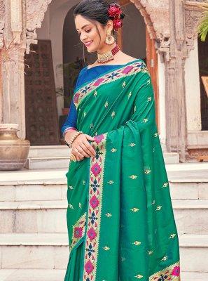 Silk Woven Green Traditional Saree