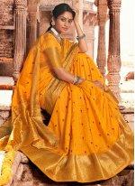 Silk Woven Mustard Traditional Saree